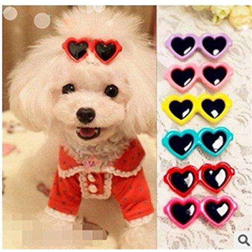 Koreanisch Schmuck (FOCUSPET 10x Haustier Haarnadel Haaraccessoires Sonnenbrille Blumen Schmuck koreanische Version Haarnadel Tierbedarf Herz)