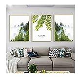 Cqzk Foresta nebbiosa Paesaggio Divano Sfondo Muro Soggiorno Decorativo Appeso Tela Pittura Cucina Camera da Letto complementi arredo casa 40x50cmX3 Senza Cornice