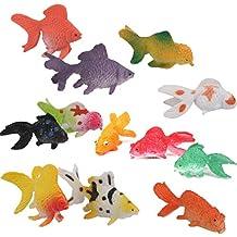 Beito Lote de 12 juguetes en miniatura de plástico rojo para peces