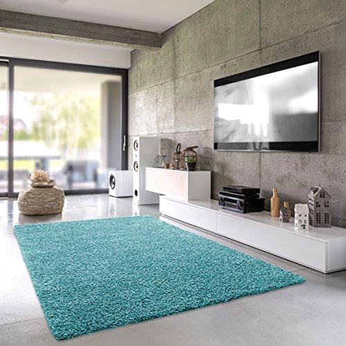 Shaggy de alfombra   chal de pelo largo para salón, dormitorio o habitación   einfarbig sustancias nocivas, apto para alérgicos, turquesa, 040 x 060 cm