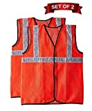 Fabtec Reflective 2 PVC Safety Jacket Orange Fabric Type (Set of 2)