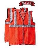 Fabtec Reflective 2 PVC Safety Jacket Orange Fabric Type (Set of 2)
