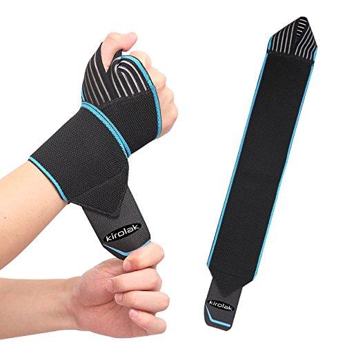 Envolturas de compresión de muñeca, KIROLAK Entrenamiento de musculación Entrenamiento de musculación Soporte de muñeca Crossfit Soporte de muñeca de pulgar ajustable para pulgar para hombres y mujeres - Azul