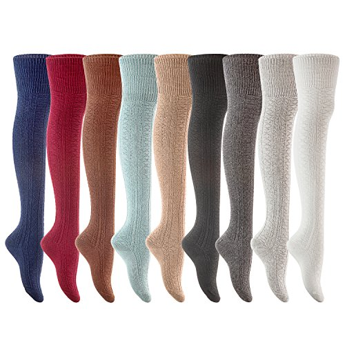 Lovely Annie Women's 3 Pairs Fashion Thigh High Cotton Socks J1025 Size UK 3-8/EUR 36-39(US)