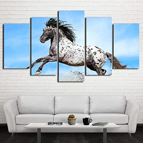 JSBVM Modern Segeltuch Wohnzimmer Bilder Zuhause Dekor 5 Panel Laufendes Pferd Gemälde Wandkunst Modular Poster Rahmen HD gedruckt,A,20×35×2+20×45×2+20×55×1