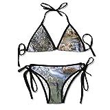 Triángulo Sexy bañándose Dos Piezas Unique White Daisies Padded Top Bottom Bikini Swiming Suit Two Piece Suits
