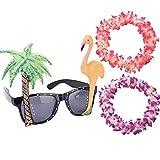 Welecom Flamingo gafas para el sol & 2piezas Collar Hawaiano collares guirnaldas de flores para disfraz de hawaiana fiesta especificaciones accesorio