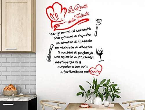 Adesivi Murali Cucina Aforisma la ricetta della felicità Frasi scritte italiano wall stickers kitchen decorazione casa adesivi da parete adesivo per muro citazioni decorazioni della casa
