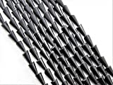 #8: The Design Cart Jet Black Opaque Pencil Shaped Crystal Bead ( 4 mm * 8 mm ) ( 1 String )