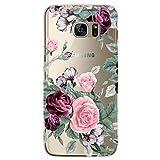 RXKEJI Galaxy S7 Edge Hülle, Handyhülle TPU Silikon Weiche Clear Ultra Dünn Schlank Durchsichtige Schutzhülle Transparent Flexibel Case Handy Hülle für Samsung Galaxy S7 Edge - Purple Pink Flower