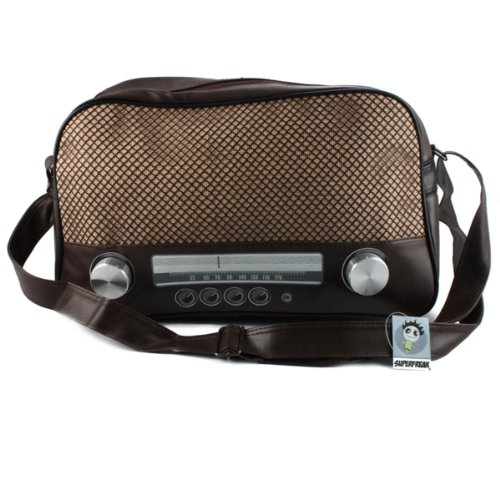 """Superfreak® Tasche """"Radio"""" Umhängetasche Radiotasche groß & quer, alle Farben!!! Braun-dunkel"""