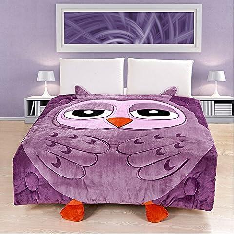 MeMoreCool Flanell-Bettwäsche Totoro, niedliche Kuscheldecke für Kinder, weicher Totoro/Katze/Eule-Bettbezug, abnehmbar und waschbar, baumwolle, eule,