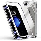 IPhone 8 Plus Case, MR Mobile Hub Magnetic Adsorption Case Ultra Slim Metal Frame Tempered Glass With Built-in Magnet Flip Cover [Support Wireless Charging] For Apple IPhone 8 Plus (Clear White)