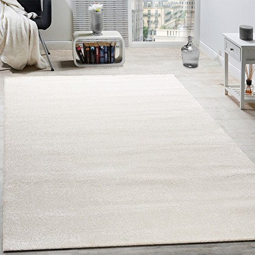 Paco Home Designer Teppich Frieze Teppiche Luxuriös Schimmer Glanzeffekt in Uni Creme, Grösse:60x110 cm (Frieze-teppich)