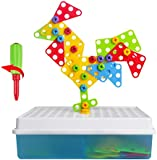 3D Take Apart Imagination Building Bricks Blocks Creative 2 in 1 Assembly Disassembly Construction Mosaic Puzzles DIY Play Toys Set with Screw Nuts Tools Birthday Gifts for kid
