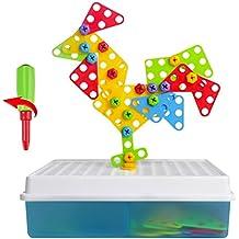 Kit Costruzione di Puzzle Giochi Mattoncini Mosaico Giocattoli Educativi Montessori per Bambini 3 4 Anni, 129 Pezzi