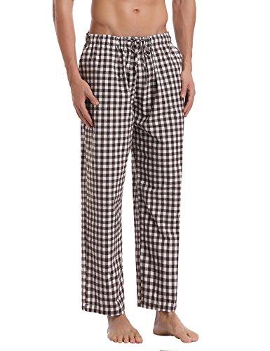 Aibrou Herren Schlafanzughose Pyjamahose Nachtwäsche Hose Baumwolle Lang Sleep Hose Pants Kariert Braun XL (Braun-kariertes Schlafanzug)