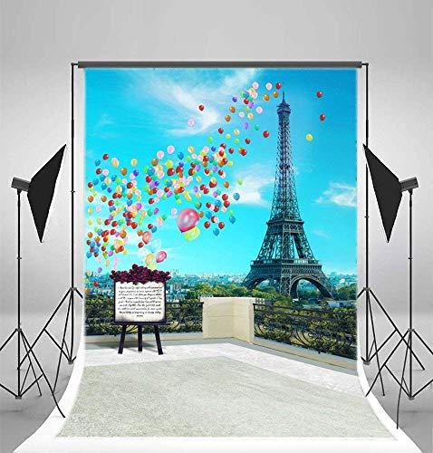 GzHQ 5x7ft Vinyl Fotografie Hintergrund Romantische Paris Eiffelturm Landschaft Ballons Hintergrund für Fotos 1,5x2,2 mt Hintergrund Studio Requisiten