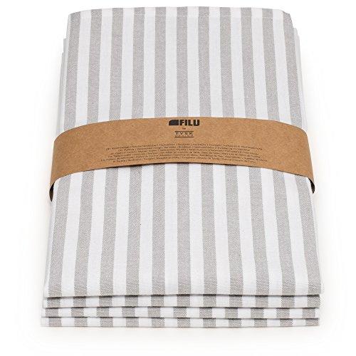 FILU Servietten 8er Pack Grau/Weiß gestreift (Farbe und Design wählbar) 45 x 45 cm - Stoffserviette aus 100% Baumwolle im skandinavischen Landhausstil -