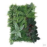 Homyl 4 Stück 60 * 40cm Künstliche Grasmatte Blumenwiese - #2