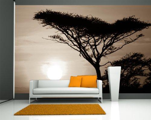 Vlies Fototapete - Akazienbaum im Sonnenuntergang, Tanzania Serengeti Afrika - sephia - sepia - 270x180 cm - mit Kleister - Poster - Foto auf Tapete - Wandbild - Wandtapete - Vliestapete - Serengeti Vier