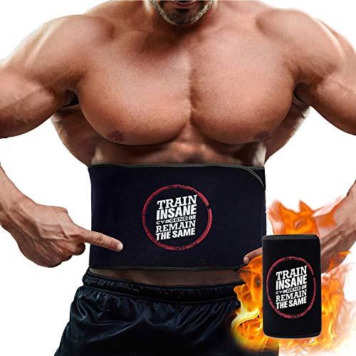 CybGene Bauchweggürtel, Schwitzgürtel zur Fettverbrennung, Neopren Sauna Fitnessgürtel, Verstellbarer Waist Trimmer,hot Belt,Verbesserte Kernstabilität beim Abtransport von Übergewicht (Schwarz M)