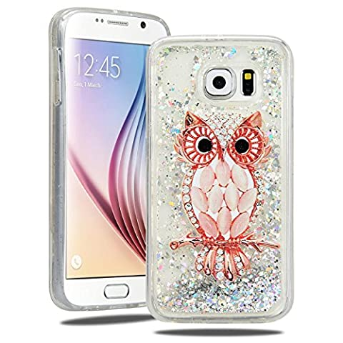 SmartLegend Samsung S6 Case Glitter, Soft Liquid Crystal Quicksand Moving Bling Silicone Soft Case for Samsung Galaxy S6, Gel Rubber Floating Dynamic Flowing TPU Flexible Shining Ultra Thin Lightweight Anti-Scratch Full Body Protective Skin Cover for Samsung Galaxy S6 - Diamond Owl