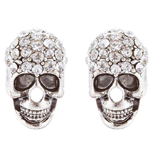 accessoriesforever Frauen Halloween-Kostüm Schmuck Kristall Strass Skull Head Fashion Ohrringe E982SV (Zeit Reise Halloween Kostüme)