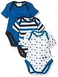 Twins Baby Jungen Kurzarm Body im 3er Pack, Mehrfarbig (Weiss/Marine 810012), 56