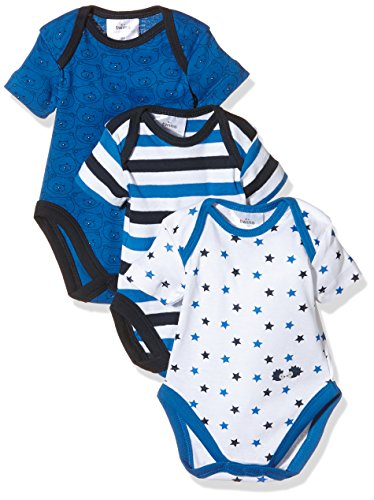 Twins Baby - Jungen kurzarm Body im 3er Pack, Mehrfarbig (Weiss/Marine 810012), 80