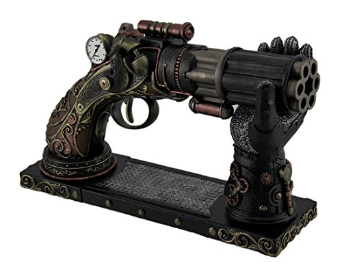 6Barrel Dekorative Steampunk Pistole Statue W/Gauntlet Display Ständer