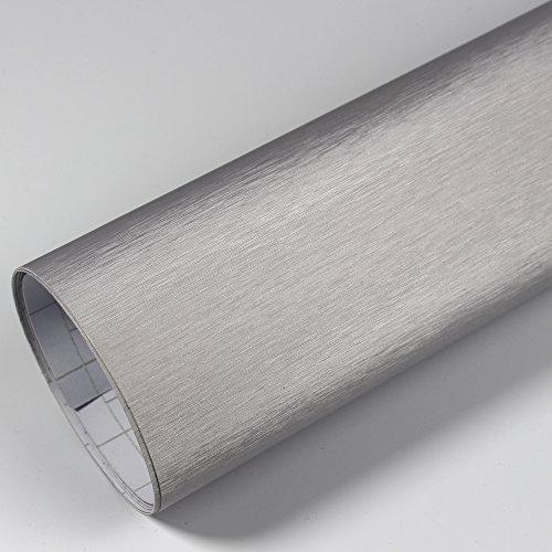 Rapid Teck® PREMIUM – Aluminium Alu gebürstet Silber 50cm x 1,52m Auto Folie Blasenfrei mit Luftkanälen für Auto Folierung und 3D bekleben in Matt Glanz und Carbon