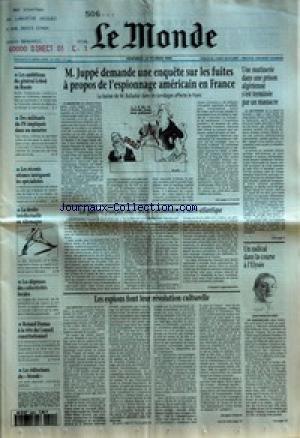 MONDE (LE) [No 15577] du 24/02/1995 - LES AMBITIONS DU GENERAL LEBED EN RUSSIE - DES MILITANTS DU FN IMPLIQUES DANS UN MEURTRE - LES RECENTS SEISMES INTRIGUENT LES SPECIALISTES - LA DROITE INTELLECTUELLE EN ALLEMAGNE - LES DEPENSES DES COLLECTIVITES LOCALES - ROLAND DUMAS A LA TETE DU CONSEIL CONSTITUTIONNEL - LES EDITORIAUX DU MONDE - M. JUPPE DEMANDE UNE ENQUETE SUR LES FUITES A PROPOS DE L'ESPIONNAGE AMERICAIN EN FRANCE - LES PATRONS FRANCAIS SOUS L'OEIL DES ACTIONNAIRES D'OUTRE-ATLANT