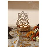 Golden Metal Decorative Shadow Divine Lord Laxmi Ji Tealight Candle Holder Light With Tealight By JD PRODUCTS