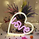 szdc88 Decorativo Luz Neon Señal Café Bar Forma Corazón Mural Lámpara Compromiso Decoraciones Pared Love Ornamento San Valentín Fiesta Hogar Manualidades Habitación LED (Blanco Cálido con Rosa)
