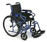 Smart Reha - Carrozzina standard ad autospinta con telaio pieghevole stabilizzante. (40, Blue)