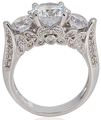 SaySure White Gold Filled CZ Diamond Anniversary Wedding & Engagement Ring