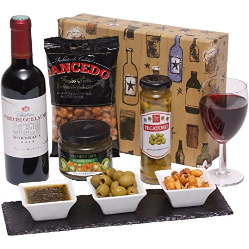 Wine and Snacks Gift Box Hamper - Red Wine with Savoury Snacks Presented in a Luxury Gift Box
