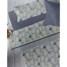 JUEGO SÁBANAS (María Azul suave 150 ) 3X PIEZAS PIRINEO INVIERNO (grosor 120 g) CAMA 150 CON LARGO DE 190-200CM BAJERA ELÁSTICA, ENCIMERA Y 1X FUNDA ALMOHADA + PACK 3X TOBILLEROS de Regalitostv (150_x_200_cm, AZUL)