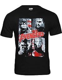original Marvel Comics THE AVENGERS Herren Männer T-Shirt Fanshirt 4 FACES passend zum Film Age Of Ultron schwarz Gr. S-XL CODI