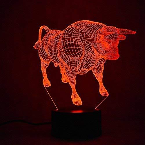 3D Rinder Illusions LED Lampen Tolle 7 Farbwechsel Acryl berühren Tabelle Schreibtisch-Nacht licht mit USB-Kabel für Kinder Schlafzimmer Geburtstagsgeschenke Geschenk