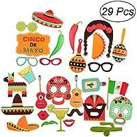LUOEM 29 piezas Photo Booth Props Fiesta Party Supplies recuerdos del carnaval mexicano para la boda favores de la fiesta de cumpleaños
