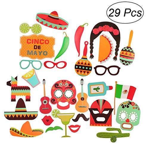 LUOEM 29 Stücke Foto Booth Props Fiesta Party Mexikanischen Karneval Hochzeit Geburtstag Zubehör