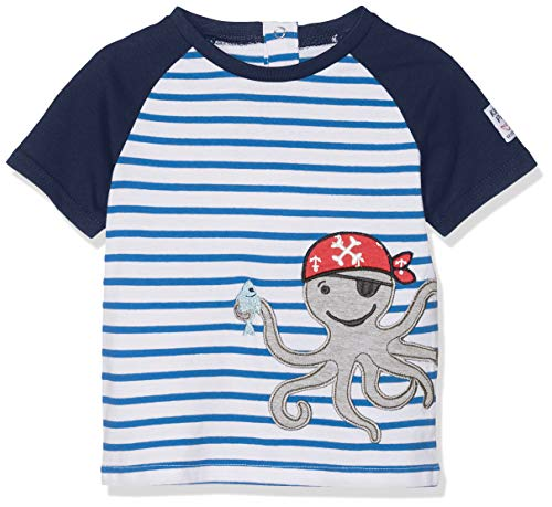 SALT AND PEPPER Baby-Jungen T-Shirt B Pirat Stripe Krake, Blau (Strong Blue 465) ()