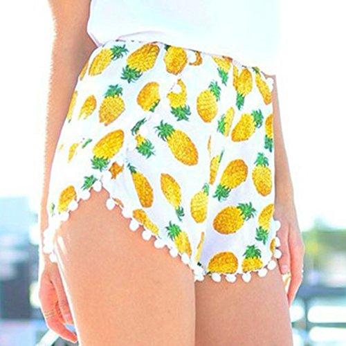 OME&QIUMEI Elastische Taille Shorts Für Den Sommer Mädchen Kugel Kugel Von Ananas Und Gummizug Hose Strand, Bilder, Serie (Badminton Kostüm Mädchen)