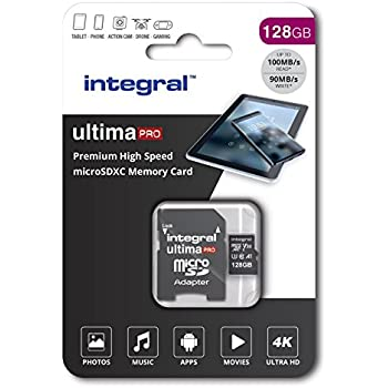 Integral 128GB micro SD card Premium 4K High Speed memory microSDXC Up to 100MB/s V30 UHS-I U3