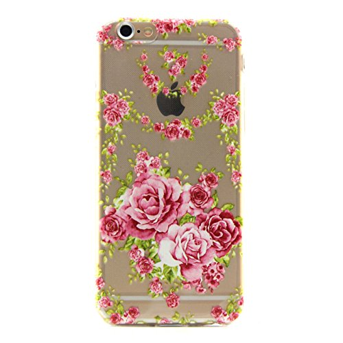 Custodia per iPhone 6 6S (4,7 Zoll),Cozy Hut ® Custodia Caso Case Cover Per iPhone 6 6S (4,7 Zoll) pollici Trasparente TPU Gel Silicone Bumper Protettivo Skin Custodia Ultra-sottile Coppie Dandelion Daisy Rose Flessibile morbido Protettiva Shell - Rose