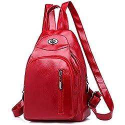 REALIKE Backpack Multifunktions Rucksack Soft Leder Daypack Anti-Diebstahl Einkaufstasche Kleiner Reisegepäck Kunstleder Kleidertaschen Waschbeutel Kette Messenger Tasche (M, rot)
