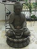 DAFLOXX BRUNNEN BUDDHA SKULPTUR STATUE 86cm INCL. LICHT/PUMPE FENG SHUI FIGUR