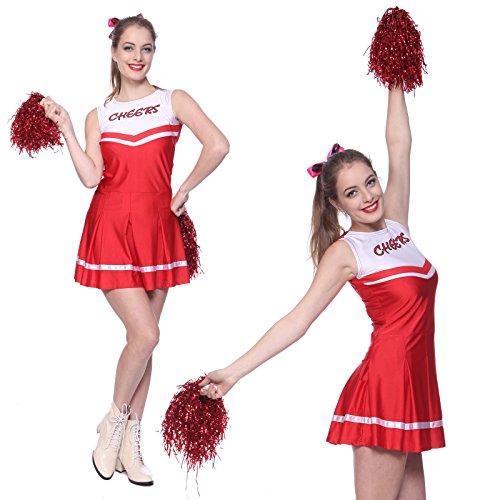 Imagen de anladia  disfraz de animadora para adulto mujer mini vestido rojo con pompones talla 38 40 42 m  alternativa